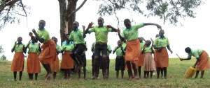Primary school children singing about hygiene and nutrition